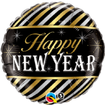 "New Year Stripes Foil Balloon (18"") 1pc"
